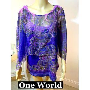 One World Paisley Tee W/Sheer Overlay Sz 1X